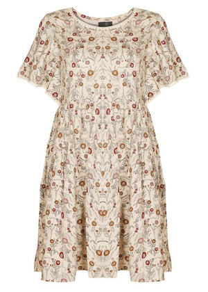 Batwing Sleeves Printed Dress