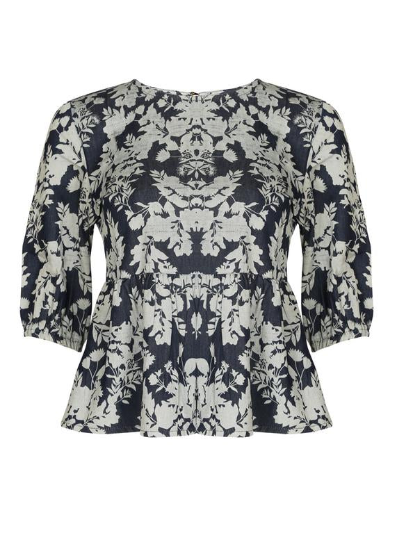 Printed Denim Peplum top