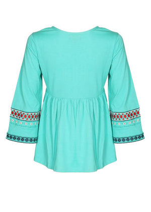 Embroidered Yoke Flared Top