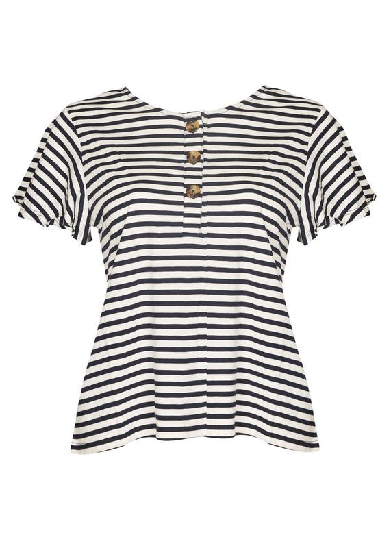 Striped Horn Button Top