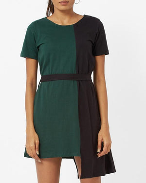 Color Blocked Belted Dress