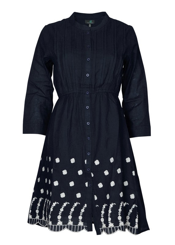 Shirt Dress wtith Embroidered Hem