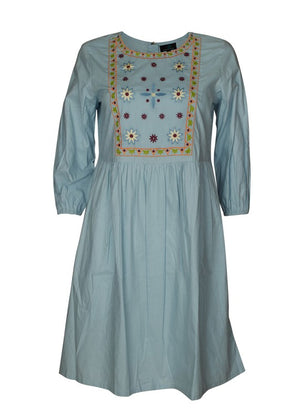 Tent Dress  with Embroidered Yoke