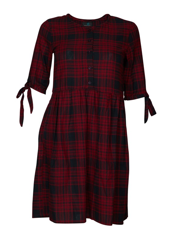 Checkered button-down dress