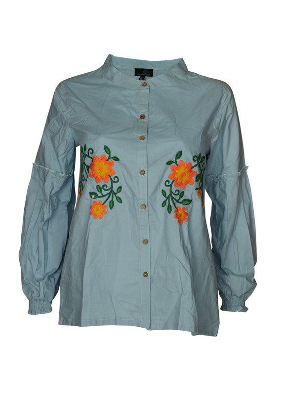 Floral Embroidery Shirt in Blue