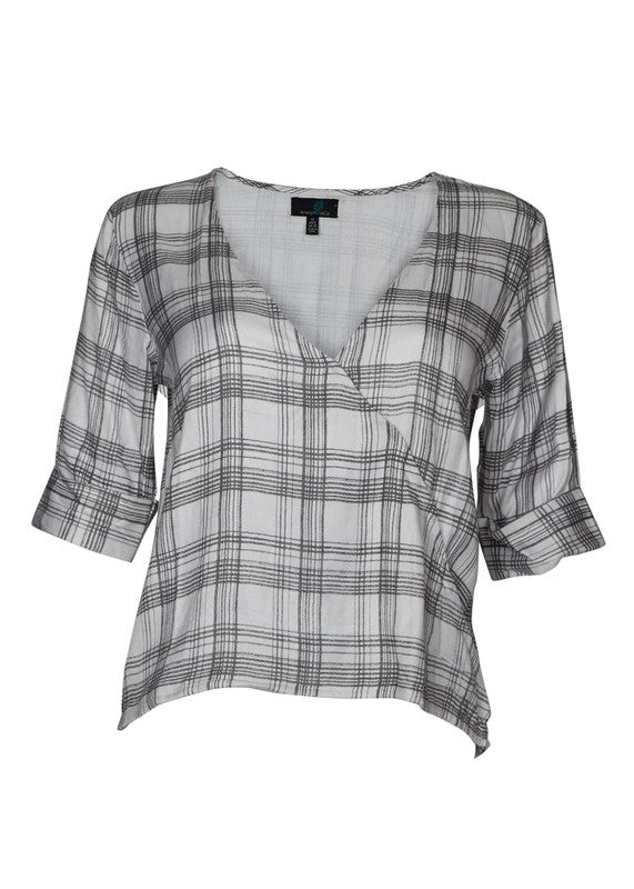 Overlap Plaid Top