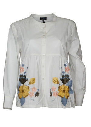 Floral Embroidery Shirt in White