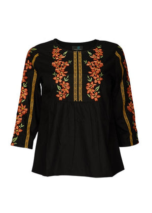 Embroidered Top in Black