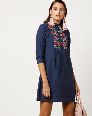 Embroidered Yoke Chambray Dress