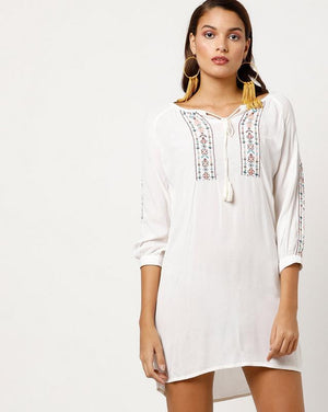 Embroidered Yoke Jersey Dress