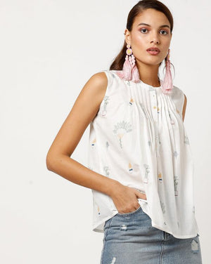 Sleeveless Pintucks Top