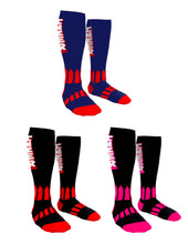 Load image into Gallery viewer, Inzer Power Deadlift Socks colors. Blue and Red, Black and Red, Black and Vivid Pink. True Powerlifting Socks