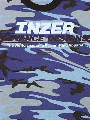 Inzer Logo Blue Camo T-shirt-Inzer Advance Designs, The World Leader In Powerlifting Apparel, and powerlifting belts