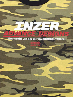 Inzer Logo Yellow Camo T-shirt-Inzer Advance Designs, The World Leader In Powerlifting Apparel