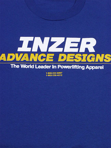 Inzer Logo Royal Blue T Shirt-Inzer Advance Designs powerlifting T-shirt. Great underneath your Inzer powerlifting belt!