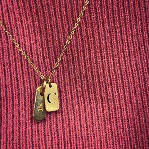 Dainty initial charm - engraved necklace - gifts from the heart
