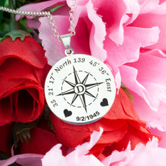love coordinate and wedding date necklace compass jewelry coordinates jewelry