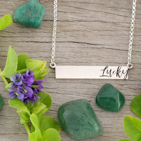 bar necklace - bar necklace engraved - customize jewelry online - bar necklace personalized - bar necklace engraved - make your own jewelry - jewelry creators - sterling silver necklace - design a necklace - custom made necklace - engravable necklace bar- engraving necklaces