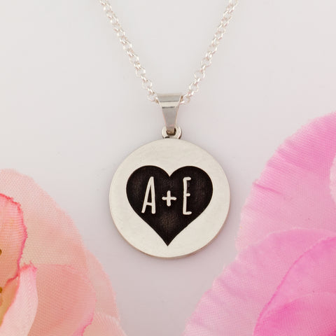 custom disc necklace with initials - jewelry for valentine's day