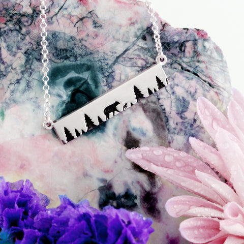 Nature inspired jewelry -  mountain scene bar necklace in sterling silver