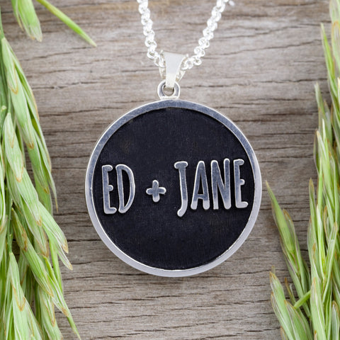 corporate jewelry - logo jewelry - necklace with name - name jewelry - name necklace - engraved necklace - engraved jewelry - meaningful jewelry - utah made - made in utah - small business support
