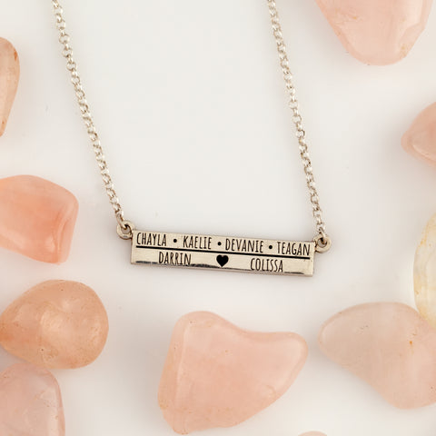 custom bar necklace engraved with names of children - necklace for mom