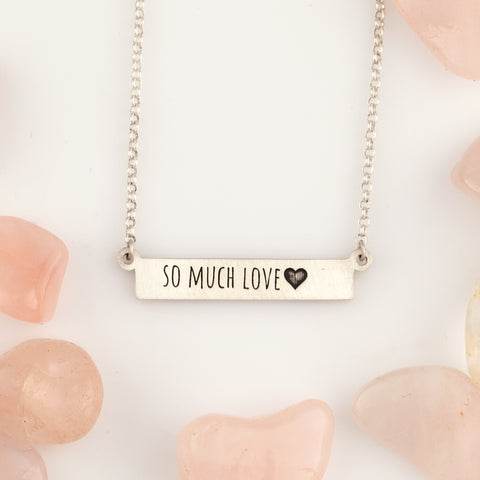 custom bar necklace engraved with text