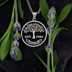 Embossed family tree with straight trunk family tree jewelry