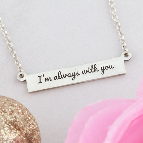 Personalized bar necklace with engraving