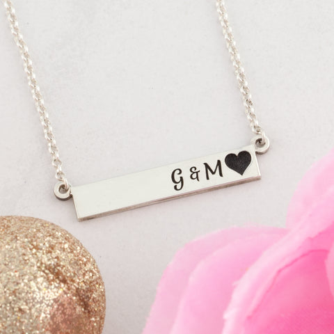 Personalized bar necklace with initials and heart