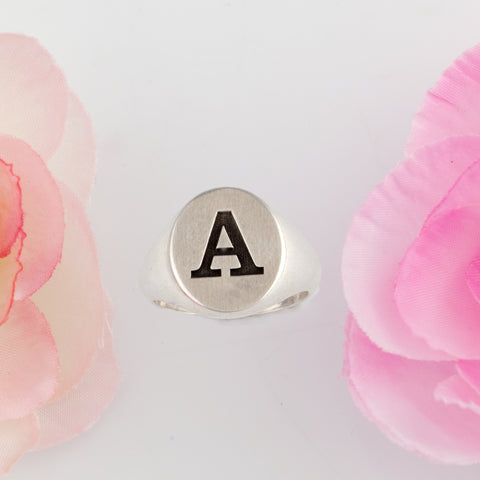 Custom initial ring - engraved ring for her - engraved ring sterling silver
