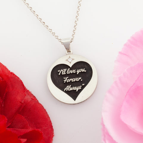 Love jewelry - disc necklace with quote inside heart - valentine's day jewelry