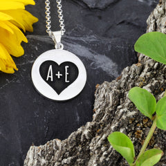 personalized love jewelry couple jewelry love initial name necklace heart necklace anniversary jewelry wedding jewelry