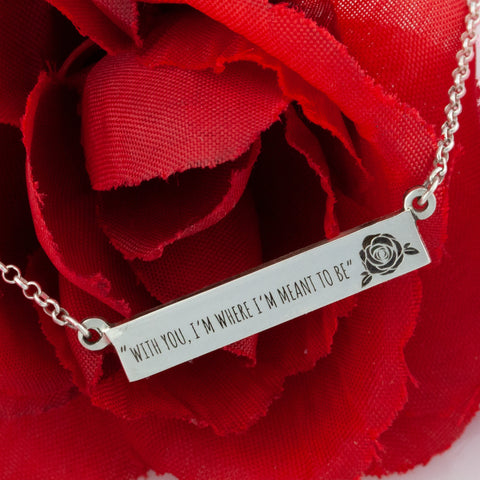 Bar necklace with engraving - necklace with short love quote - valentine's day necklace