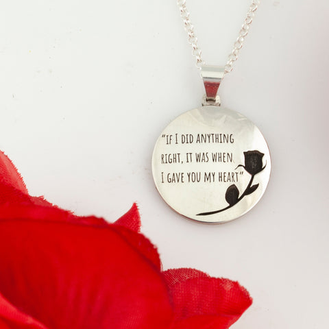 love jewelry - necklace with rose and quote - valentine's day necklace