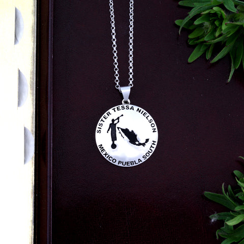 Personalized LDS sister missionary necklace in sterling silver