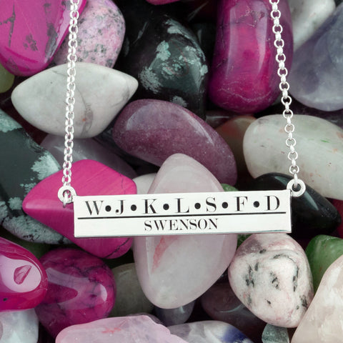 Personalized necklace for moms - custom initial necklace - bar necklace with engraving