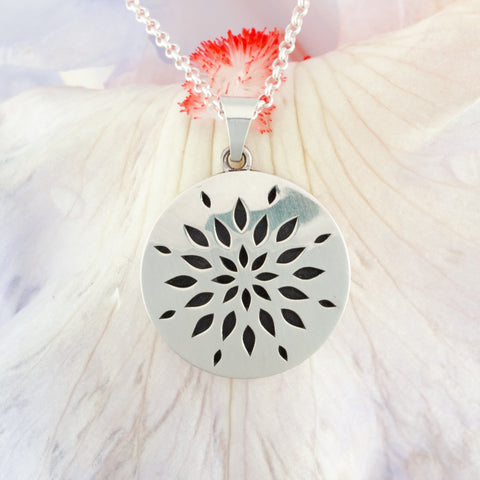 Sterling silver flower necklace - nature inspired jewelry