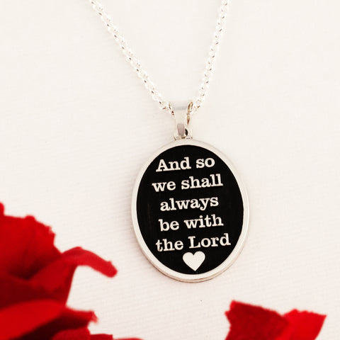 custom oval necklace engraved with religious text