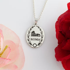 custom travel necklace choose a landmark and optional text travel jewelry