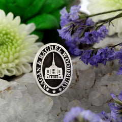 Custom LDS Temple Wedding Pin Design your own Anniversary Lapel Pin add images or text