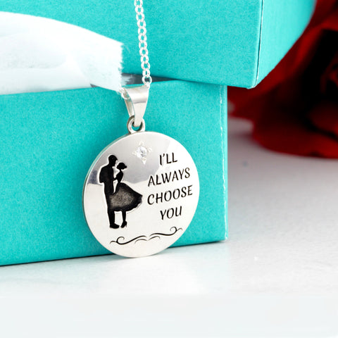 custom disc necklace with text and engraving - jewelry for valentine's day