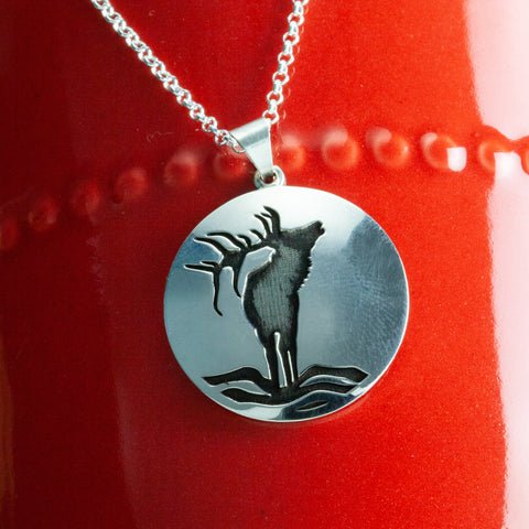 Nature inspired jewelry - elk necklace in sterling silver