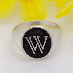 Initial Embossed Signet Ring - Initial Jewelry