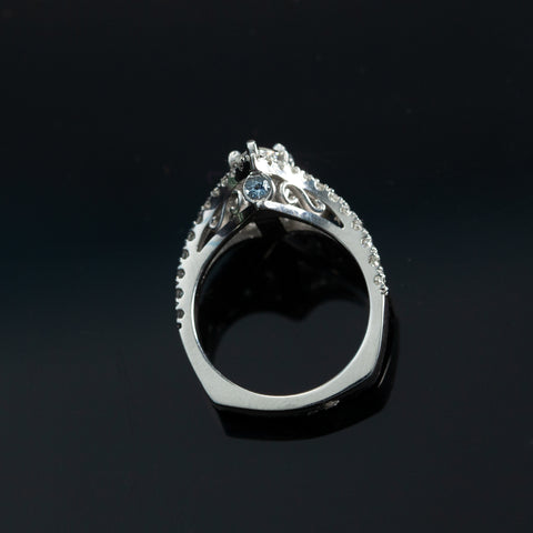 Custom diamond engagement ring in white gold