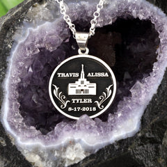 Custom LDS Temple Wedding Necklace Design your own Anniversary Necklace add images or text