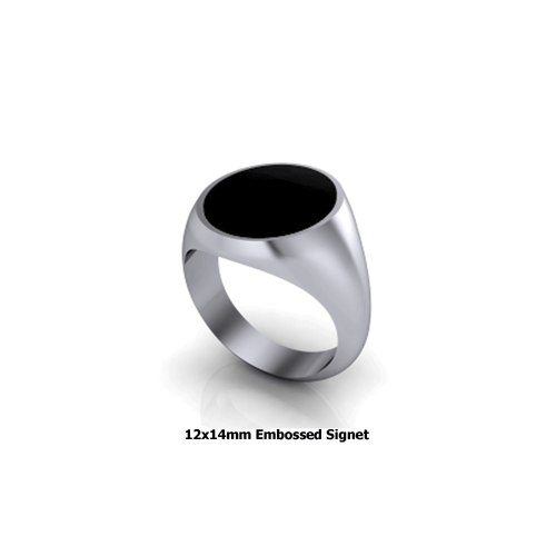 Personalized sterling silver signet ring embossed