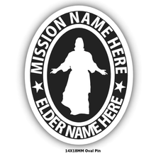 Load image into Gallery viewer, missionary pin christ embossed create your own mission pin personalized jewelry