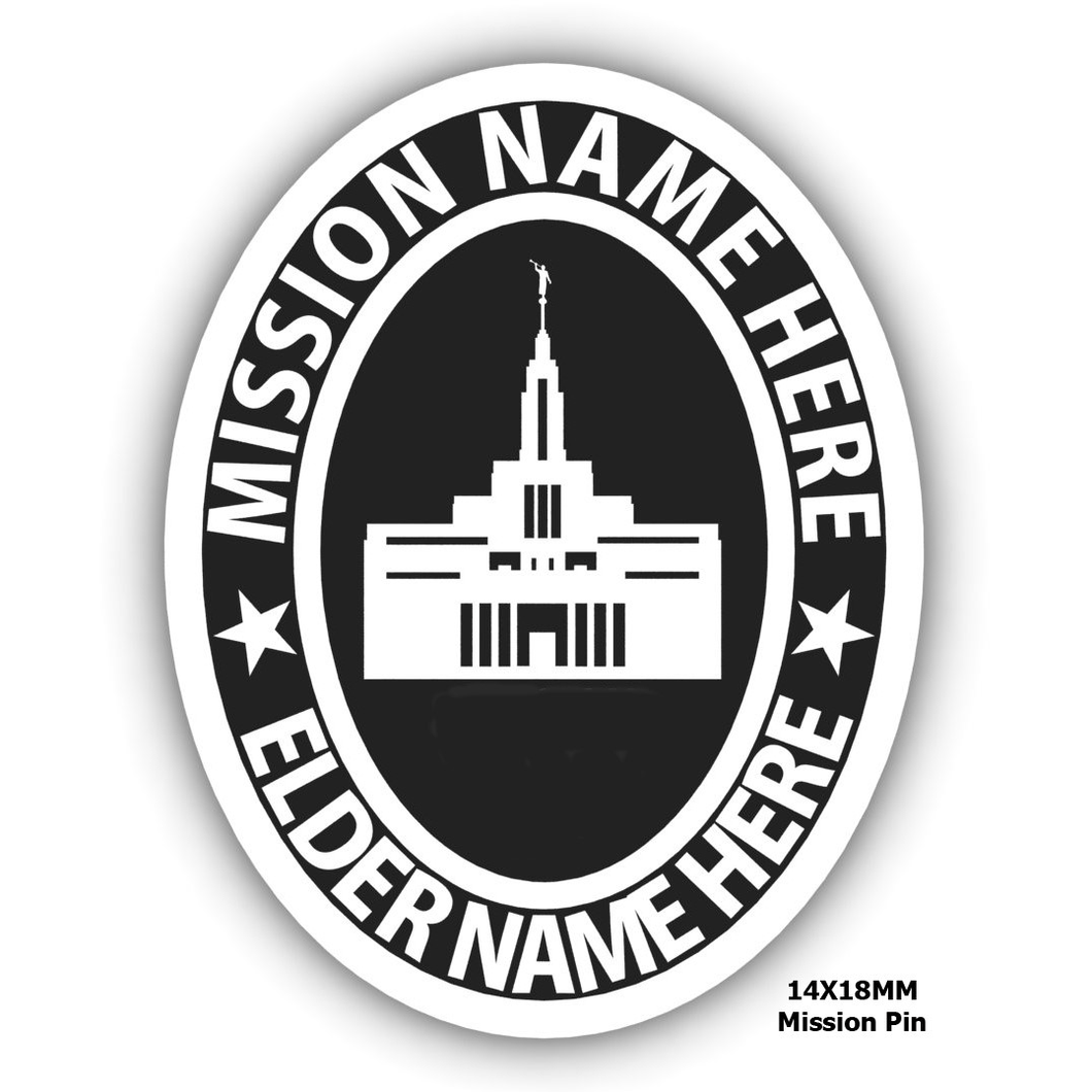 missionary pin temple embossed create your own mission pin personalized jewelry