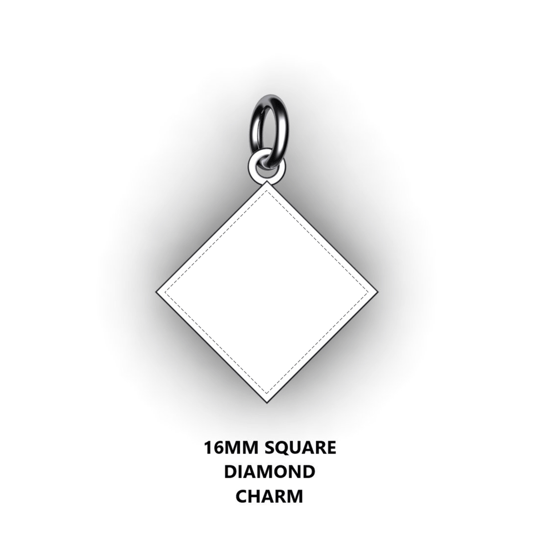 Personalized diamond square - design your own charm - custom diamond square charm